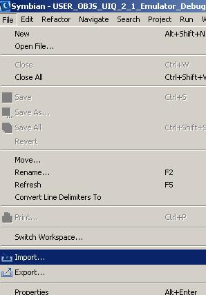 Importazione progetto Symbian  mmp in carbide c++
